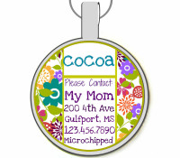 Cute Floral Silver Pet ID Tags