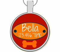 Red Doggy Nameplate Silver Pet ID Tags