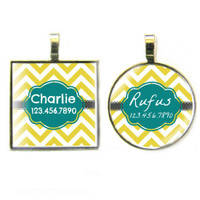 Dandelion Chevron Silver Pet ID Tags