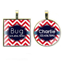 Red Chevron Silver Pet ID Tags
