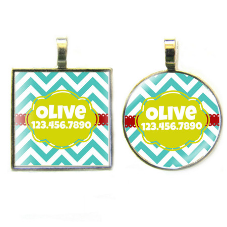 Teal Chevron Silver Pet ID Tags