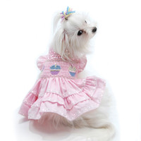 Oscar Newman Birthday Cupcake Hand-Smocked Dress
