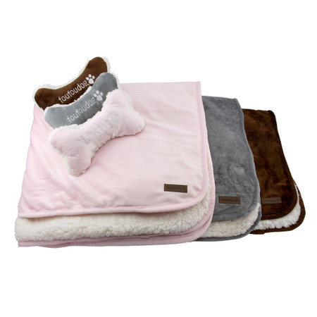 Luxe Sherpa Puppy Blanket Set w/ Bone Pillow Toy