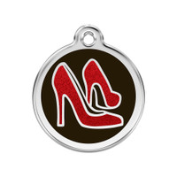 Red Shoe Stainless Steel Glitter Enamel ID Tag