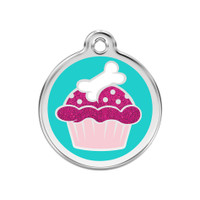 Cupcake Stainless Steel Glitter Enamel ID Tag