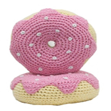 Organic Cotton Crochet Donut Dog Toy