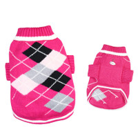 Pink Argyle Pattern Turtleneck Dog Sweater