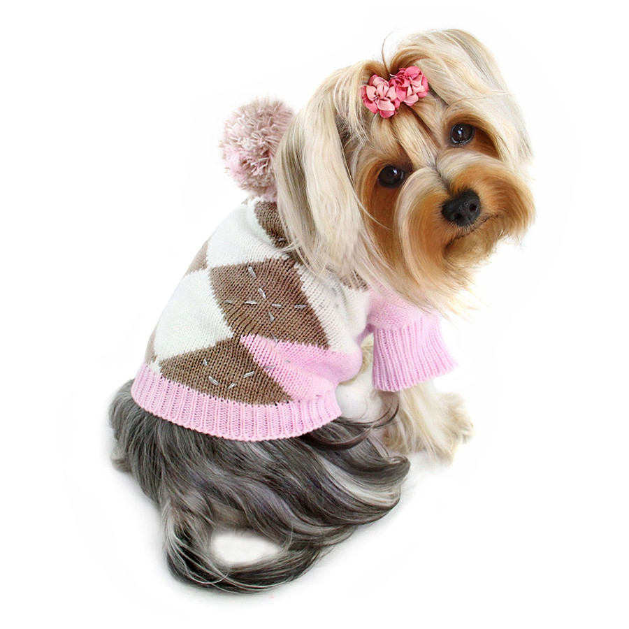 ARGYLE PATTERN HOODIE SWEATER WITH POMPOM - PINK
