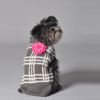 Grey Plaid Flower Sweater