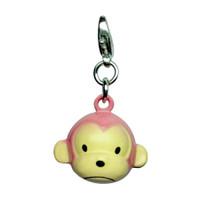 Pink Monkey Metal Jingle Bell Charm