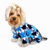 Blue & Black Argyle Fleece Turtleneck Dog Pajamas