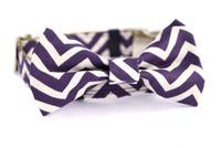 Plum Chevron Bow Tie
