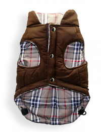 Brown Plaid V2 Reversible Puffer Vest