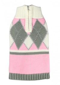 Argyle Pink Dog Sweater