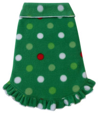 Christmas Dots With Ruffle Fleece Pullover