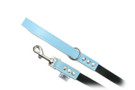"Buddy Belt Leather Dog Leash - Leather/Nylon - Baby Blue - 3/4"" wide"