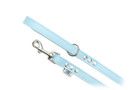 "Buddy Belt Leather Dog Leash - All Leather - Baby Blue - 3/4"" wide"