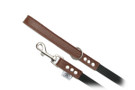 "Buddy Belt Leather Dog Leash - Leather/Nylon - Dark Brown - 3/4"" wide"