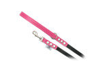"Buddy Belt Leather Dog Leash - Leather/Nylon - Hot Pink - 1/2"" wide"