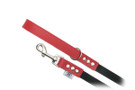 "Buddy Belt Leather Dog Leash - Leather/Nylon - Red - 3/4"" wide"