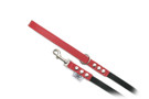 "Buddy Belt Leather Dog Leash - Leather/Nylon - Red - 1/2"" wide"