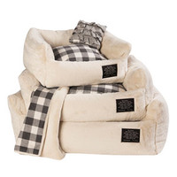 Louisdog Furry Boom/Luster Cream Bed