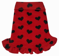 Red Hearts Fleece Ruffle Pullover