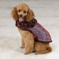 Amethyst Reversible Embroidered Satin & Fur Coat