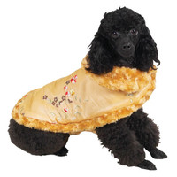 Champagne Reversible Embroidered Satin & Fur Coat