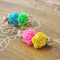Wooflink Jewel & Rose Hair Clip