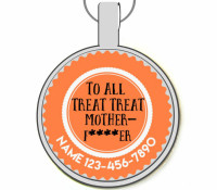 All Treat Treat Motherf***er Silver Pet ID Tag