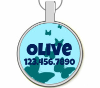 Blue Butterflies Silver Pet ID Tags