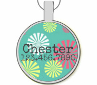 Blue Confetti Silver Pet ID Tags