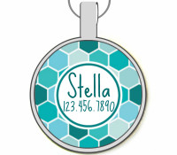 Blue Geometric Silver Pet ID Tags
