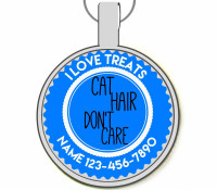 Cat Hair Don't Care Silver Pet ID Tags