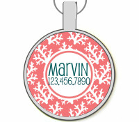 Coral Silver Pet ID Tags