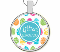 Easter Egg Silver Pet ID Tags