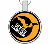Halloween Bat Silver Pet ID Tags