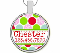 Holiday Dots Silver Pet ID Tags