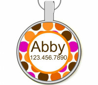 Orange Dots Silver Pet ID Tags