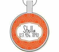 Orange Geometric Silver Pet ID Tags