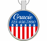 Patriotic Silver Pet ID Tags