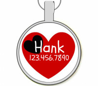 Red and Black Heart Silver Pet ID Tags