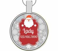 Santa Silver Pet ID Tags