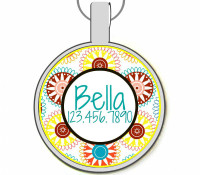 Spirograph Silver Pet ID Tags