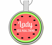 Watermelon Silver Pet ID Tags