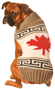 grey maple leaf sweater - Large Dog Christmas Sweaters