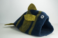 Navy & Green Fish Felted Cat Cave