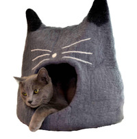 Grey Cat Face Felted Cat Cave