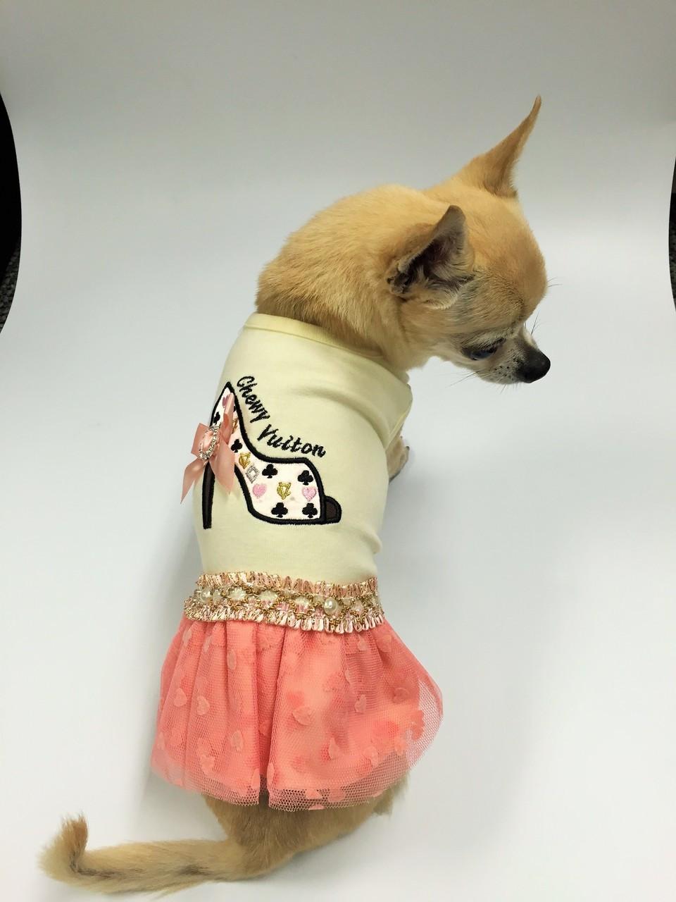 Chewy Vuiton Heel Ribbon Shoe Coral Heart Dress & Chihuahua Clothes Chihuahua Clothing - FunnyFur.com